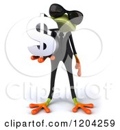 Clipart Of A 3d Formal Springer Frog Wearing Sunglasses And Holding A Dollar Symbol Royalty Free CGI Illustration