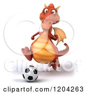 Clipart Of A 3d Red Dragon Playing Soccer Royalty Free CGI Illustration