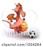 Clipart Of A 3d Red Dragon Playing Soccer 2 Royalty Free CGI Illustration