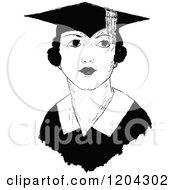 Vintage Black And White Female Graduate