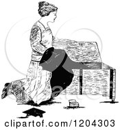 Vintage Black And White Woman Pulling A Graduation Gown From A Chest
