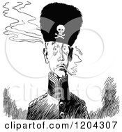 Clipart Of A Vintage Black And White Soldier Wearing A Fluffy Pirate Hat Royalty Free Vector Illustration
