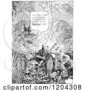 Cartoon Of Vintage Black And White Soldiers Talking About Poison Ivy In A Jungle Royalty Free Vector Clipart