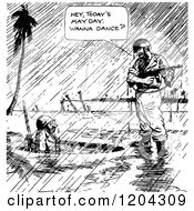 Cartoon Of A Vintage Black And White Soldiers In The Rain May Day Royalty Free Vector Clipart by Prawny Vintage