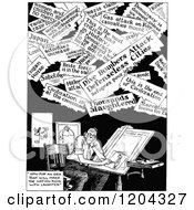 Cartoon Of A Vintage Black And White Artist And Headlines Royalty Free Vector Clipart