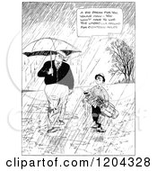 Cartoon Of A Vintage Black And White Man And Boy Carrying Golf Clubs In The Rain Royalty Free Vector Clipart