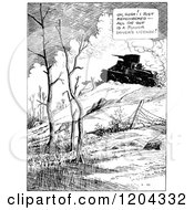 Cartoon Of A Vintage Black And White Military Tank Royalty Free Vector Clipart