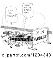 Vintage Black And White Man Hole And Men Working Sign