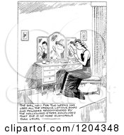Cartoon Of A Vintage Black And White Sad Woman Looking At Her Reflection With Text Royalty Free Vector Clipart