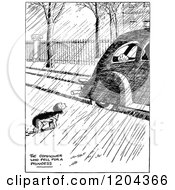 Cartoon Of A Vintage Black And White Homeless Dog Watching A Spoiled Dog In A Car Royalty Free Vector Clipart