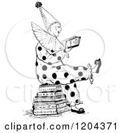 Vintage Black And White Clown Reading Joke Books