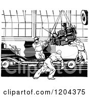 Clipart Of A Vintage Black And White Automobile Assembly Line Royalty Free Vector Illustration by Prawny Vintage