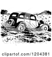 Clipart Of A Vintage Black And White Vintage Car Driving Through Mud Royalty Free Vector Illustration by Prawny Vintage