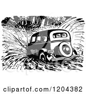 Clipart Of A Vintage Black And White Vintage Car Crashing Into Water Royalty Free Vector Illustration by Prawny Vintage