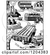 Clipart Of A Vintage Black And White Automobile Factory Royalty Free Vector Illustration by Prawny Vintage
