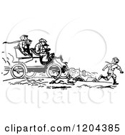 Clipart Of A Vintage Black And White Boy Running By A Car Royalty Free Vector Illustration by Prawny Vintage