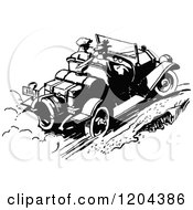 Clipart Of A Vintage Black And White Couple Driving A Convertible Car Royalty Free Vector Illustration by Prawny Vintage