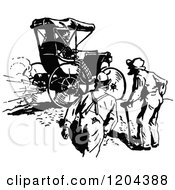 Clipart Of A Vintage Black And White Gas Buggy And Men Royalty Free Vector Illustration by Prawny Vintage