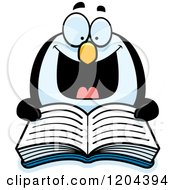 Cartoon Of An Excited Penguin Reading A Book Royalty Free Vector Clipart by Cory Thoman