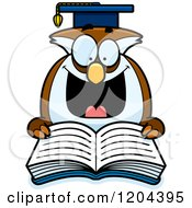 Cartoon Of An Excited Professor Owl Reading A Book Royalty Free Vector Clipart