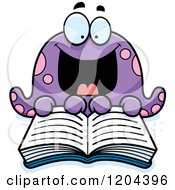 Cartoon Of An Excited Octopus Reading A Book Royalty Free Vector Clipart by Cory Thoman