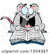 Cartoon Of An Excited Mouse Reading A Book Royalty Free Vector Clipart