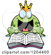 Cartoon Of An Excited Frog Prince Reading A Fairy Tale Book Royalty Free Vector Clipart