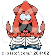 Cartoon Of An Excited Squid Reading A Book Royalty Free Vector Clipart by Cory Thoman