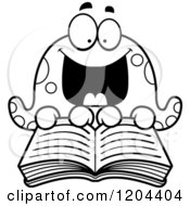 Cartoon Of A Black And White Excited Octopus Reading A Book Royalty Free Vector Clipart
