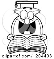 Cartoon Of A Black And White Excited Professor Owl Reading A Book Royalty Free Vector Clipart by Cory Thoman