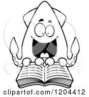 Cartoon Of A Black And White Excited Squid Reading A Book Royalty Free Vector Clipart by Cory Thoman