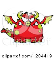 Cartoon Of A Mad Chubby Red Dragon Royalty Free Vector Clipart