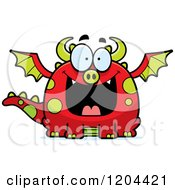 Cartoon Of A Happy Grinning Chubby Red Dragon Royalty Free Vector Clipart