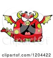 Cartoon Of An Evil Chubby Dragon Royalty Free Vector Clipart