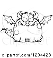 Cartoon Of A Black And White Mad Chubby Dragon Royalty Free Vector Clipart