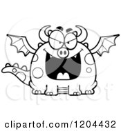 Cartoon Of A Black And White Evil Chubby Dragon Royalty Free Vector Clipart