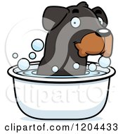 Cartoon Of A Cute Rottweiler Puppy Dog Taking Bath Royalty Free Vector Clipart