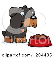 Cartoon Of A Cute Rottweiler Puppy Dog With A Food Bowl Royalty Free Vector Clipart