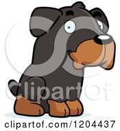 Cartoon Of A Cute Rottweiler Puppy Dog Sitting Royalty Free Vector Clipart