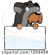 Cartoon Of A Cute Rottweiler Puppy Dog Over A Sign Royalty Free Vector Clipart