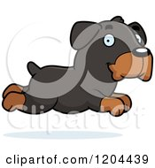 Cartoon Of A Cute Rottweiler Puppy Dog Running Royalty Free Vector Clipart