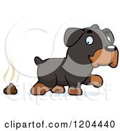 Cartoon Of A Cute Rottweiler Puppy Dog Pooping Royalty Free Vector Clipart