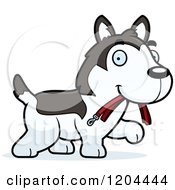 Cartoon Of A Cute Husky Puppy Dog Carrying A Leash Royalty Free Vector Clipart by Cory Thoman