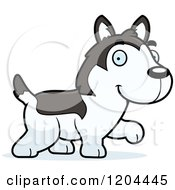 Cartoon Of A Cute Husky Puppy Dog Walking Royalty Free Vector Clipart