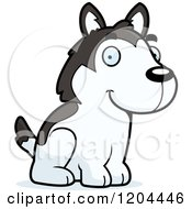 Cartoon Of A Cute Husky Puppy Dog Sitting Royalty Free Vector Clipart by Cory Thoman