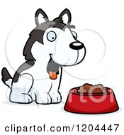 Cartoon Of A Cute Husky Puppy Dog With A Food Bowl Royalty Free Vector Clipart by Cory Thoman
