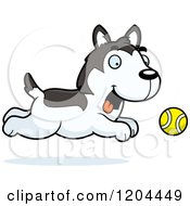 Cartoon Of A Cute Husky Puppy Dog Chasing A Ball Royalty Free Vector Clipart by Cory Thoman