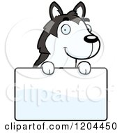 Cartoon Of A Cute Husky Puppy Dog Over A Sign Royalty Free Vector Clipart by Cory Thoman