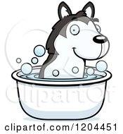 Cartoon Of A Cute Husky Puppy Dog Taking A Bath Royalty Free Vector Clipart by Cory Thoman
