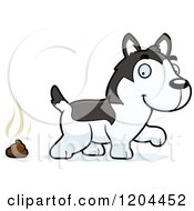 Cartoon Of A Cute Husky Puppy Dog Pooping Royalty Free Vector Clipart by Cory Thoman